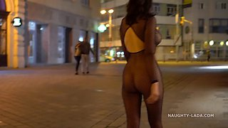 Mesh outfit in public at night