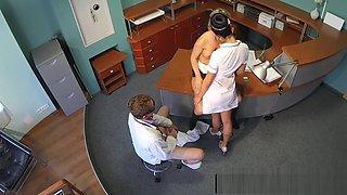 Voyeur office threeway with nurse and doctor