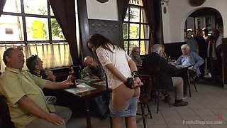 Hungarian lady Anina Silk gets mouthfucked on public in the pub
