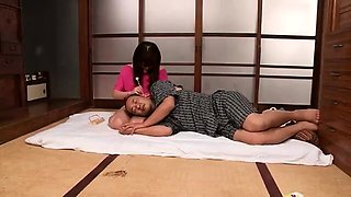 Cute Japanese teen with glasses has fun with a horny old man