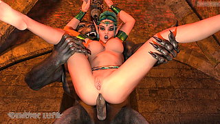 Lycan Monsters gangbang chained Elf Princess in BDSM dungeon