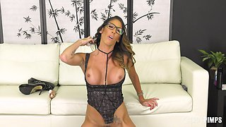 Drilling her cunt with a dildo is what Dava Foxx likes the most