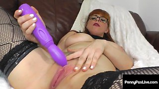 Nasty talking petite penny pax rubs her wet clit to orgasm!