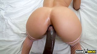Bodacious babe with juicy ass Abella Danger goes black and gives a blowjob
