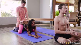 interracial threesome in the gym