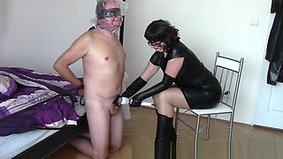 Leather wife, husband with plastic sack and for*ed toy orgasm