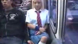 Cute blonde teen forced on a train in public