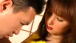 Fat Japanese sister seduce brother and swallow his cum