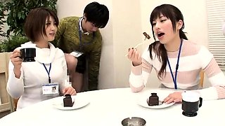 Desirable Japanese babes getting banged hard in the office
