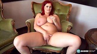 Chubby redhead masturbates