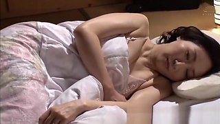 Japanese mom asleep and son touching her vagina, perv!
