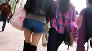 Amateur teens with lovely asses voyeur upskirt compilation