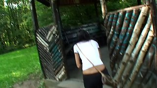 Nessa Devil in amateur wife giving a blowjob in the outdoors