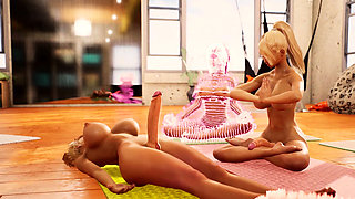 Yoga class animation with two hot futanari babes