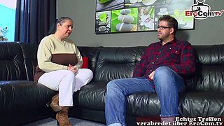 german fat chubby housewife with big boobs at casting