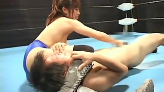 Japanese mixed wrestling battle fuck in the ring