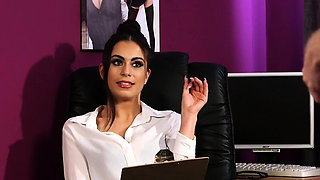 Office bosslady dominates subs cock
