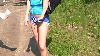 Real orgasm of teen girl outdoors