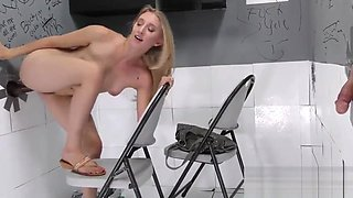 Blonde ass rides big dick