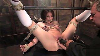 Bondage virgin Kirra breast bound & made to cum