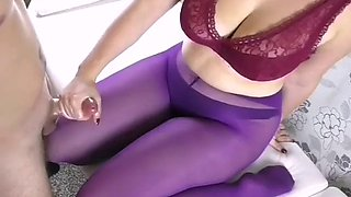 Ar handjob and cumshot on her purple pantyhose
