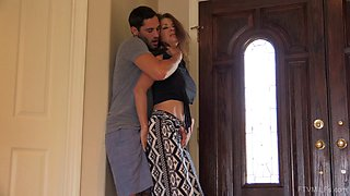 Big tits housewife temptress blows him in the kitchen