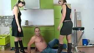 Kitchen boots trampling by 2 angry mistress part 2