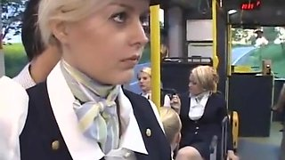 Flight Attendant makes handjobs on a bus