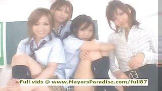 Japanese AV girl in school uniform hardcore orgy