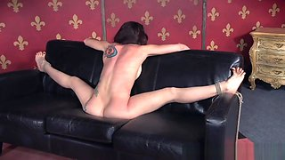 Inked submissive punished with electric toy