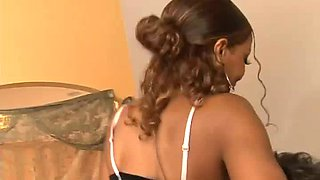 Perfect ebony slender nympho America takes long white dick in her twat