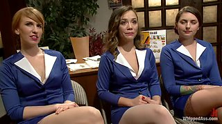 Hot chicks in stewardess uniform get tied up and toyed