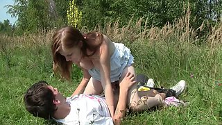 Sweet Charlotte having rough sex with her boyfriend in the wilderness