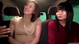 Mature Japanese babes seduce and fuck a guy in a car