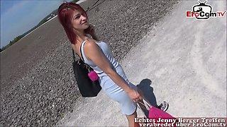 german skinny redhead teen public fuck and caught