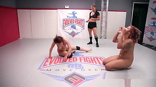 Gabriella Paltrova lesbian wrestling fight fucked with a strapon by Daisy