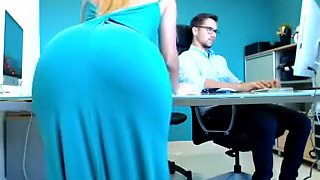 Slender Blonde Secretary Drops Her Dress And Displays Her H