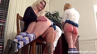 Spanking club girls take turns for spanking