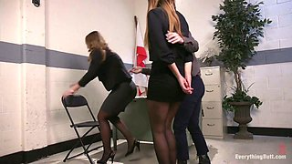 Insatiable ladyboss with strapon Cheyenne Jewel fucks two sexy office chicks