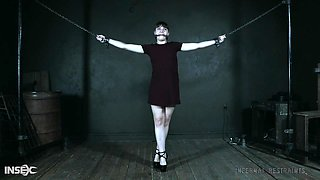 Pretty brunette submissive teen babe Luna Rival tied up and abused