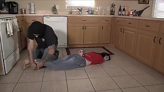 Duct Taped Hogtied Gagged by intruder
