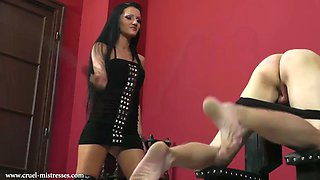 Cruel mistress very strict caning