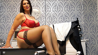 Busty Mature Strips in Office
