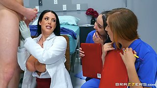 busty doctor teaching nurses how to suck patient's cock