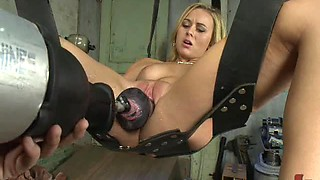Amateur Blonde Gets A Serious Introduction In The Fucking Machine World