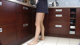 Bottomless dance in the kitchen pussy revealing