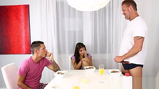 Extreme Taboo- Hot Latin StepSister in Threesome with StepDad and StepBrother
