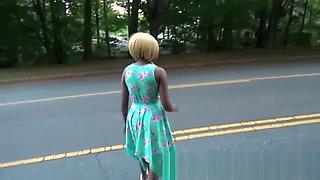 Ebony Girl Sexy Teen Amateur POV Blowjob Fuck Saudi Stranger In Public