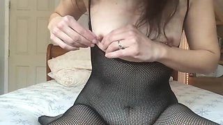Saying hello, playing with my little pierced tits
