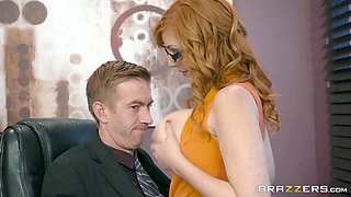 Thick office worker with the red hair getting nailed on the table